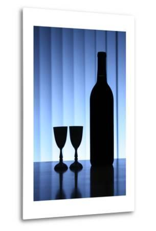 Wine Bottle With Two Glasses, Dramatic Light, Copy-Space For Text