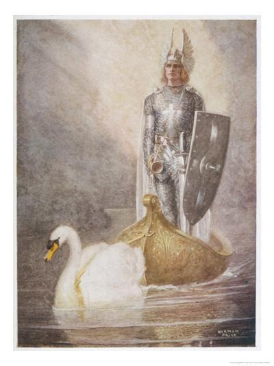 Lohengrin Arrives in a Boat Drawn by Elsa's Brother Godfrey-Norman Price-Giclee Print