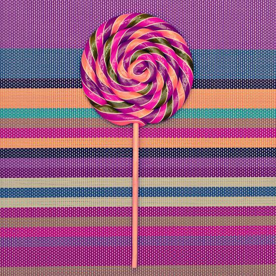 Lollipop on Bright Striped Background. Vanilla Minimal Style-Evgeniya Porechenskaya-Photographic Print