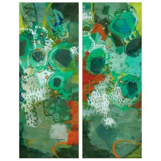 """Lolly I&II""Frameless Free Floating Tempered Art Glass Wall Art--Alternative Wall Decor"