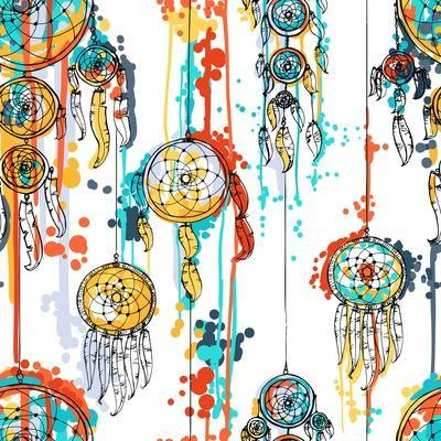 Seamless Illustration with Dream Catchers