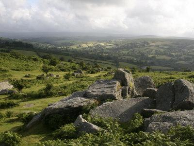 Dartmoor, View Southeast from Bonehill Rocks, Devon, England, United Kingdom, Europe