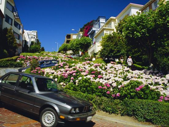 Lombard Street the Crookedest Street in the World, San Franscisco, Califonia, USA-Fraser Hall-Photographic Print