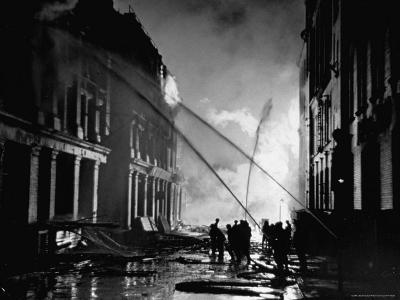 London Auxiliary Fire Service Working on a Fire Near Whitehall Caused by Incendiary Bomb-William Vandivert-Photographic Print