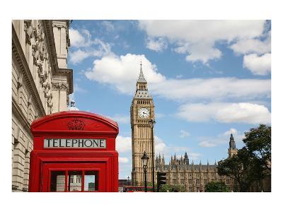 London Big Ben & Phone Booth--Art Print