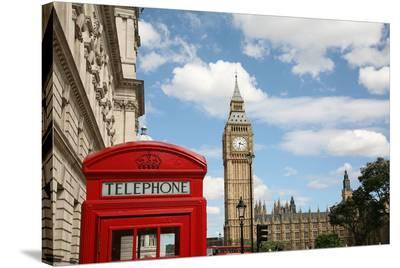 London Big Ben & Phone Booth--Stretched Canvas Print