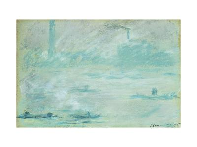 London, Boats on the Thames-Claude Monet-Giclee Print