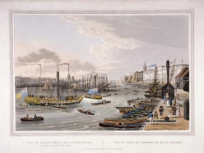 London Bridge, London, 1820-Robert Havell the Younger-Giclee Print