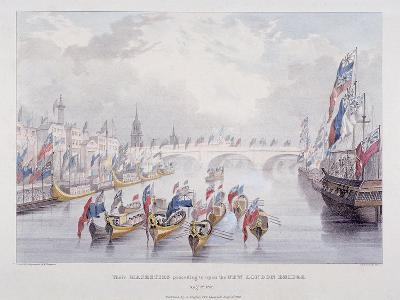 London Bridge, London, 1831-Charles Etienne Pierre Motte-Giclee Print