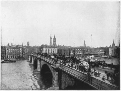 London Bridge, London, Late 19th Century-John L Stoddard-Giclee Print