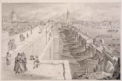 London Bridge (Old and New),London, 1831-Thomas Hosmer Shepherd-Giclee Print