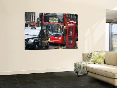 London Buses and Taxis in Heavy Traffic-Tony Burns-Wall Mural