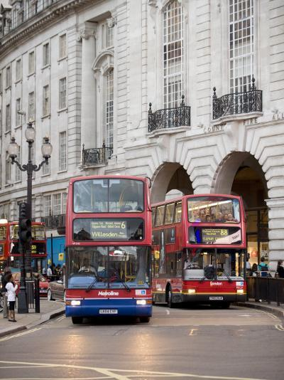 London Buses Passing the Alliance Life Building in Piccadilly Circus-xPacifica-Photographic Print