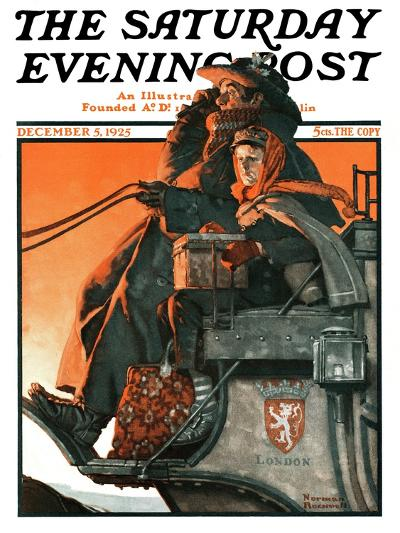 """""""London Coach"""" Saturday Evening Post Cover, December 5,1925-Norman Rockwell-Giclee Print"""