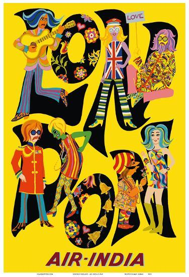 London England - Air India - The Beatles with Maharaja-Unknown-Art Print