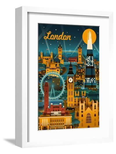 London, England - Retro Skyline-Lantern Press-Framed Art Print