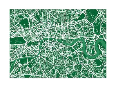 London England Street Map-Michael Tompsett-Art Print