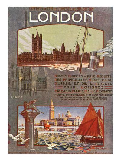 London, England - Trips to London from Rouen, Dieppe, Newhaven, Ouest and Brighton Railways, c.1920-Lantern Press-Art Print