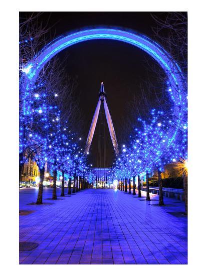 London Eye at Christmas--Art Print