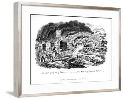 London Going Out of Town or the March of Bricks and Mortar, 1829-George Cruikshank-Framed Giclee Print