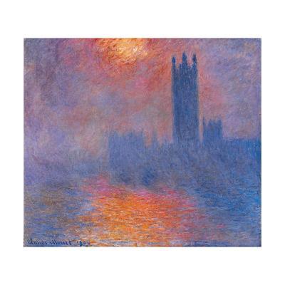 London Houses of Parliament. the Sun Shining Through the Fog-Claude Monet-Giclee Print