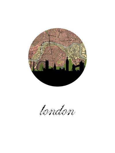 London Map Skyline--Art Print