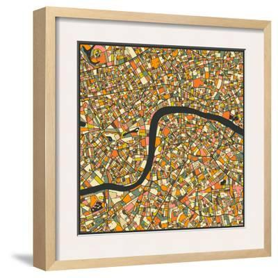 London Map-Jazzberry Blue-Framed Art Print