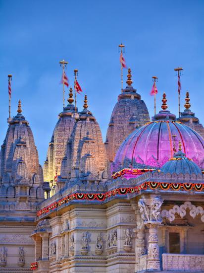 London, Neasden, Shri Swaminarayan Mandir Temple Illuminated for Hindu Festival of Diwali, England-Jane Sweeney-Photographic Print