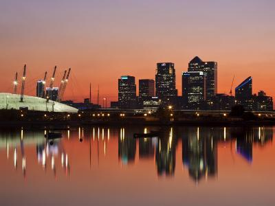 London, Newham, O2 Arena and Canary Wharf Buildings Reflecting in Royal Victoria Docks, England-Jane Sweeney-Photographic Print