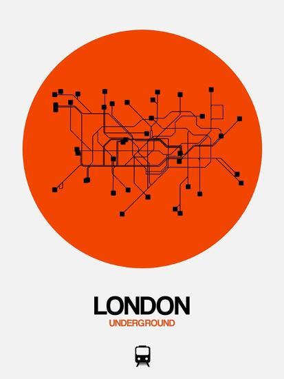London Orange Subway Map-NaxArt-Art Print