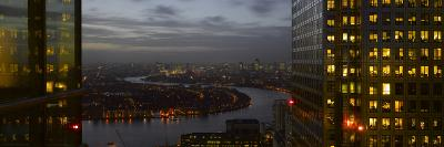 London Panorama from Citigroup Tower at Dusk with Lights in Windows Towards the River Thames-Richard Bryant-Photographic Print