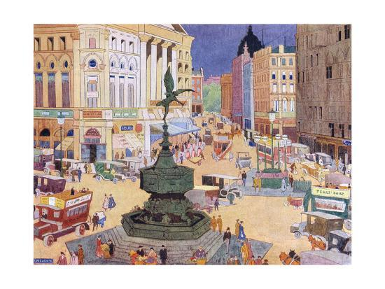 London, Piccadilly Circus-Edith Mary Garner-Giclee Print