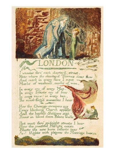 London', Plate 38 from 'songs of Experience', 1794 (Colour Printed Etching with W/C)-William Blake-Giclee Print