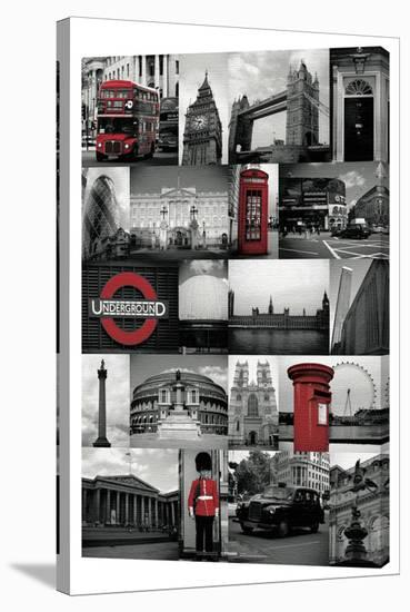 London - Red Collage--Gallery Wrapped Canvas