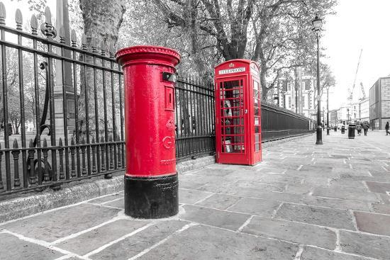 London Red Phone Box and Letter Box on Black and White Landscape-David Bostock-Photographic Print
