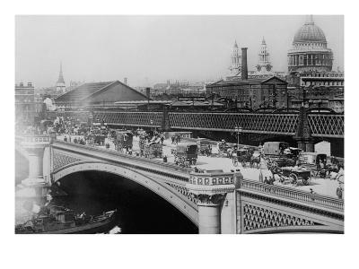 London's Black Friar's Bridge--Art Print