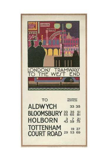 London's Tramways to the West End, London County Council (LC) Tramways Poster, 1927-P Irwin Brown-Giclee Print
