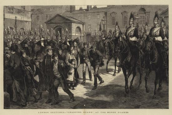 London Sketches, Changing Guard at the Horse Guards--Giclee Print