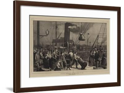 London Sketches, to Scotland by Sea, a Sketch at Irongate Wharf--Framed Giclee Print