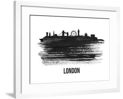London Skyline Brush Stroke - Black II-NaxArt-Framed Art Print