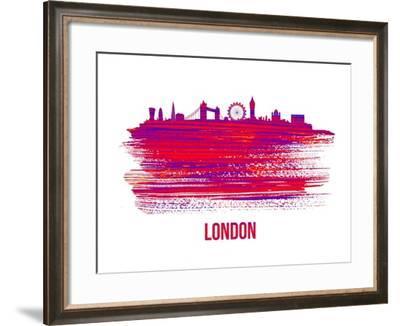 London Skyline Brush Stroke - Red-NaxArt-Framed Art Print