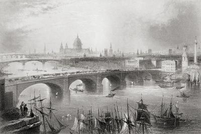 London, Southwark and Blackfriars Bridges over the River Thames, London, England, from…-William Henry Bartlett-Giclee Print