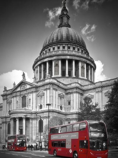 London St Pauls Cathedral & Red Bus-Melanie Viola-Art Print