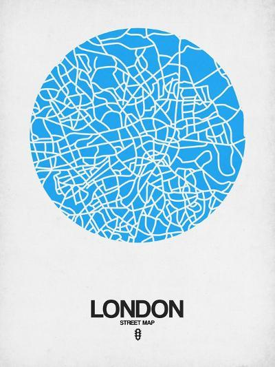London Street Map Blue-NaxArt-Art Print