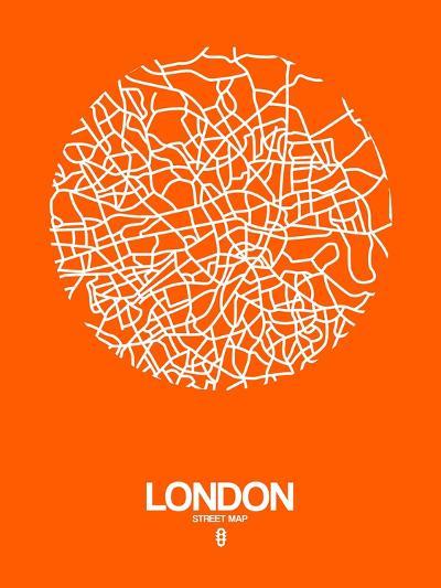 London Street Map Orange-NaxArt-Art Print