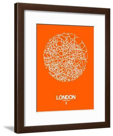 London Street Map Orange-NaxArt-Framed Art Print