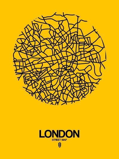 London Street Map Yellow-NaxArt-Art Print