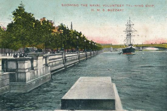 'London, Thames Embankment - Showing the Naval Volunteer Training Ship, H.M.S. Buzzard', 1907-Unknown-Giclee Print