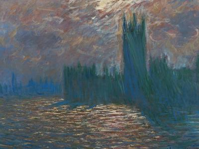 London, the Parliament; Reflections on the Thames River, 1899-1901-Claude Monet-Giclee Print