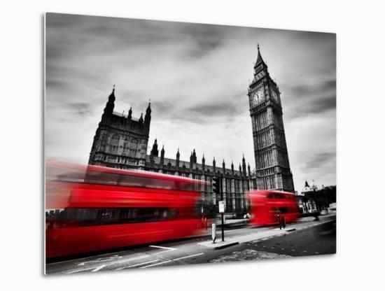 London, the Uk. Red Buses in Motion and Big Ben, the Palace of Westminster. the Icons of England In-Michal Bednarek-Metal Print